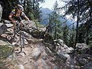 Mountain biker on a rocky Chamonix trail