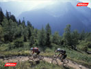 Two mountain bikers with a Chamonix view
